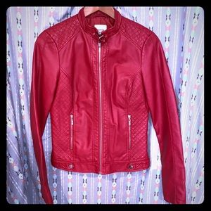 GUESS FAUX RED LEATHER JACKET!!!